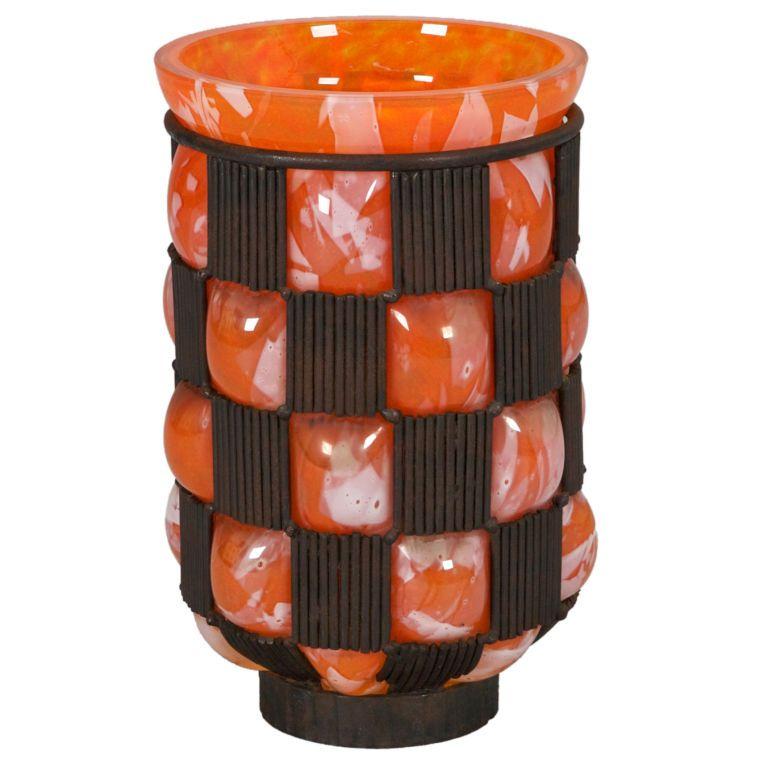 unique metal vases large orange daum vase with metal checker surround metals