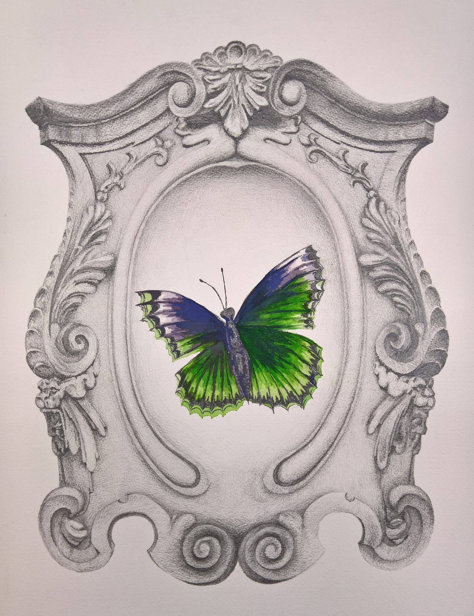 Baroque Frame and Butterfly, mixed media project for Principles of Painting, 2016