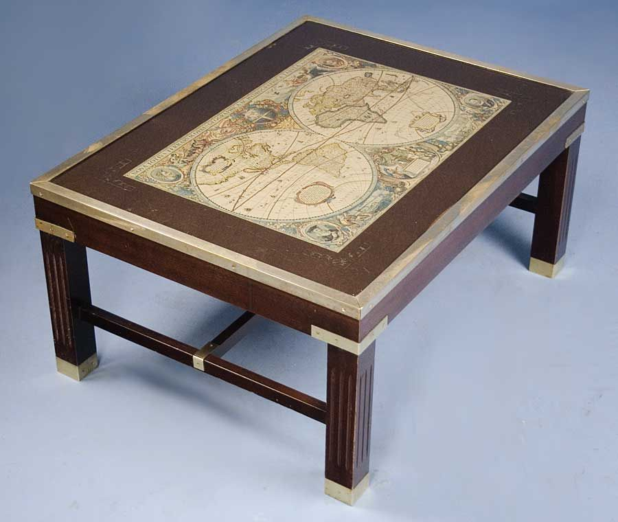 English Antique Style Coffee Table with World Map World English