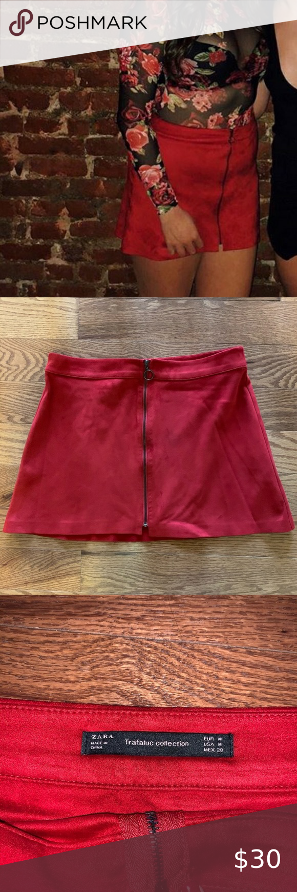 Zara Red Velvet Zipper Front Mini Skirt - medium