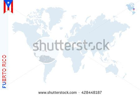 World map with magnifying on puerto rico blue earth globe with world map with magnifying on puerto rico blue earth globe with puerto rico flag pin gumiabroncs Images
