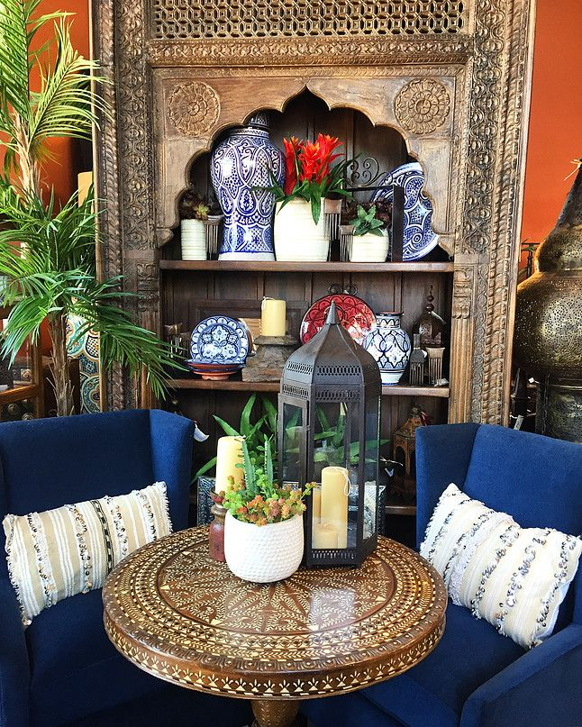 Bone Inlay Table, Giant Bookshelf Made From Antique Indian Door Surround    Moroccan Pottery And