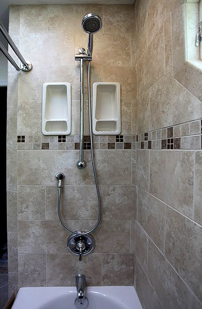 Pin By Judy Badgley On Architecture Interiors Shower Tile Bathroom Tub Shower Shower Shelves