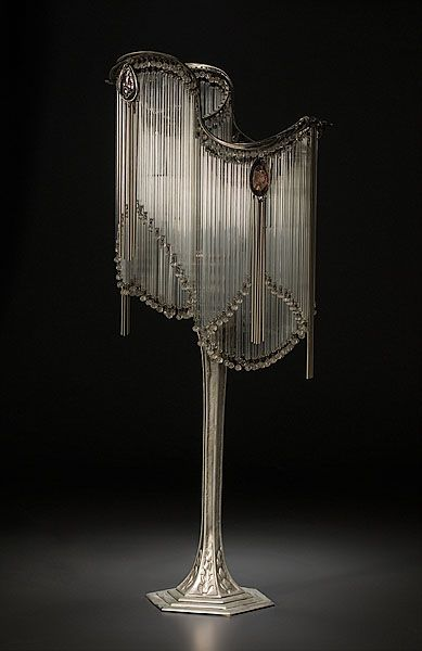 Hector Guimard-style Art Nouveau Table Lamp. French, sterling silver, early 1900s. Shade composed of glass tubing and faceted beads, enhanced by four amethyst pendants hung with silvered tubing.