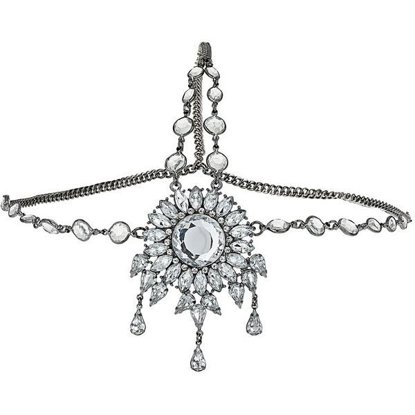 Miss Selfridge Jewelled Head Chain ($22) ❤ liked on Polyvore featuring jewelry, accessories, hair accessories, crowns and dark grey