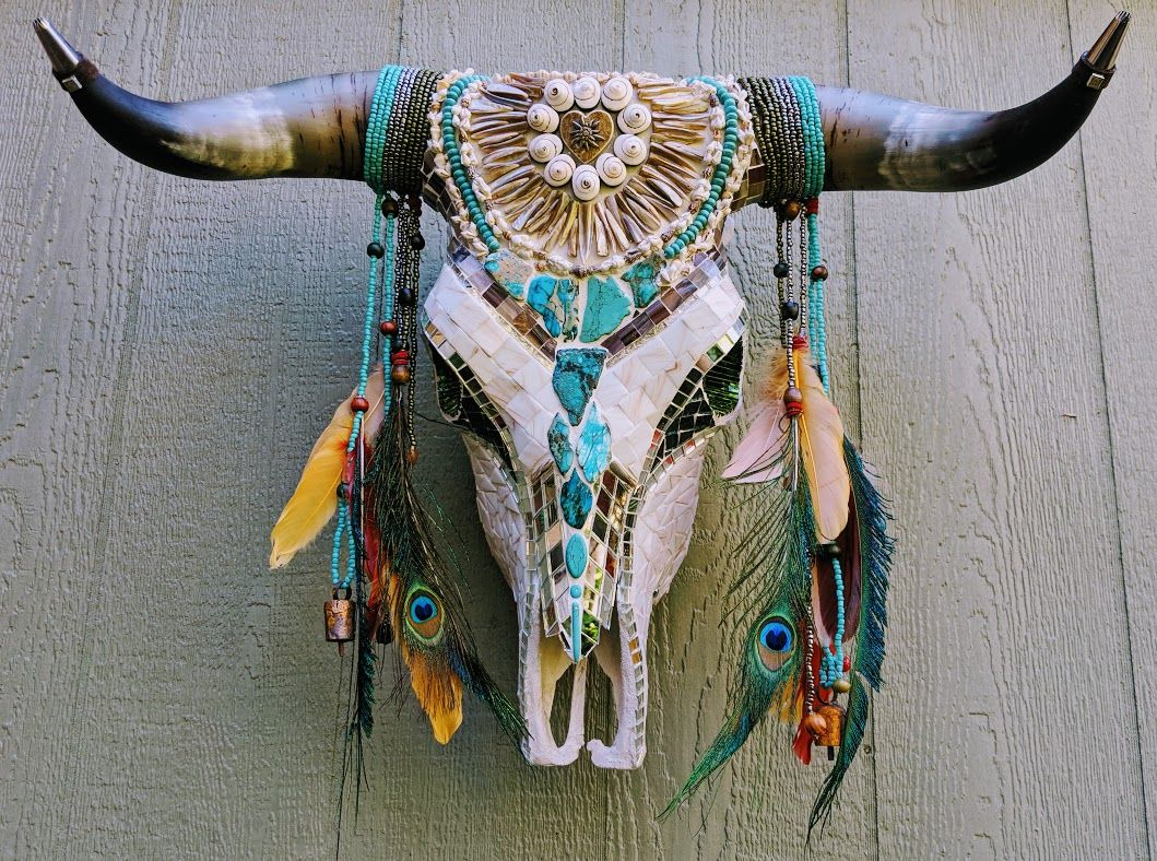 Walter II by Monkey Wrench Mosaics  Cow skull art, Beaded cow