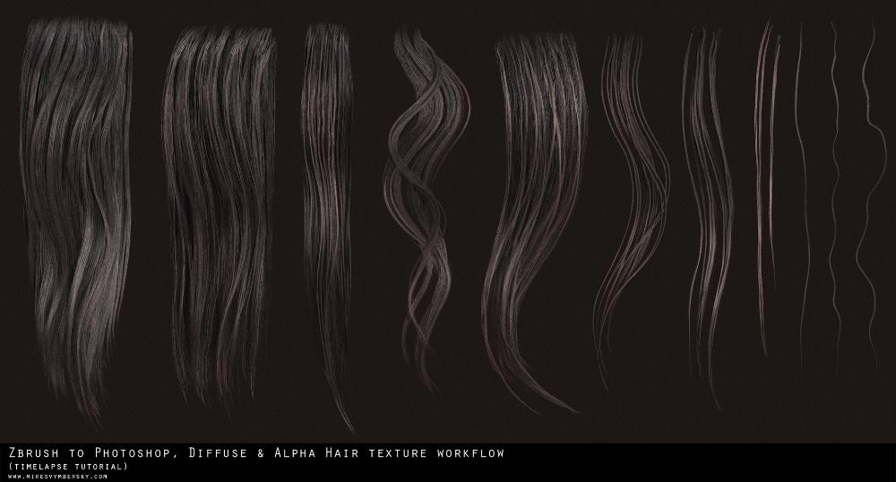 Artstation Hair Texture Diffuse Alpha Tutorial Mike Svymbersky Zbrush Hair Textured Hair Photoshop Hair