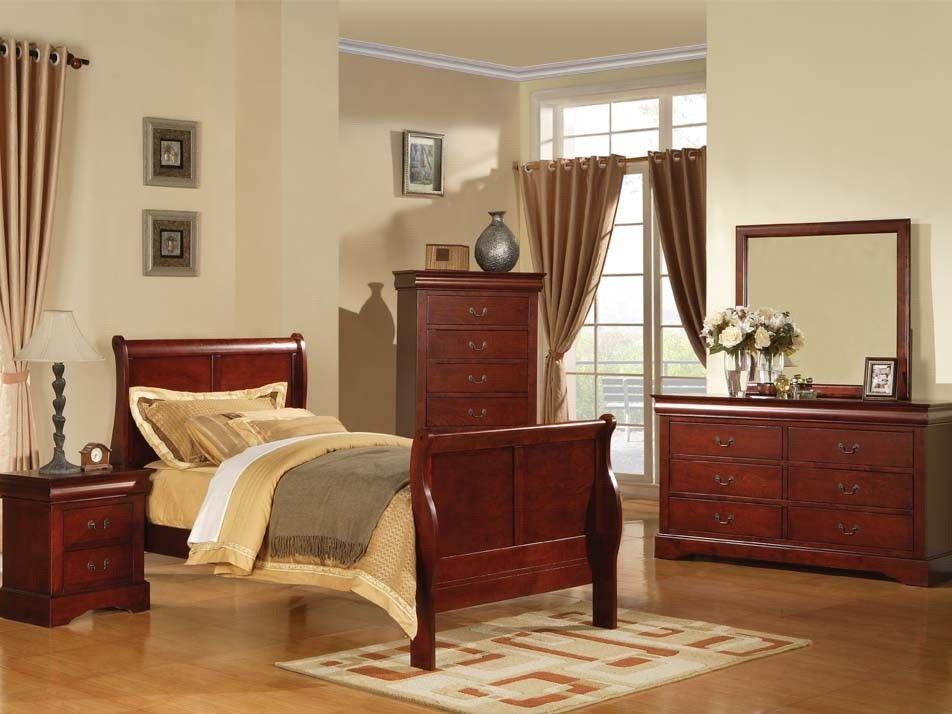 ACME LOUIS PHILIPPE III Bedroom Cherry   The Louis Philippe III Sleigh  Bedroom Collection Features KD