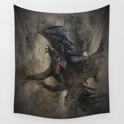 Black Dragon Wall Tapestry