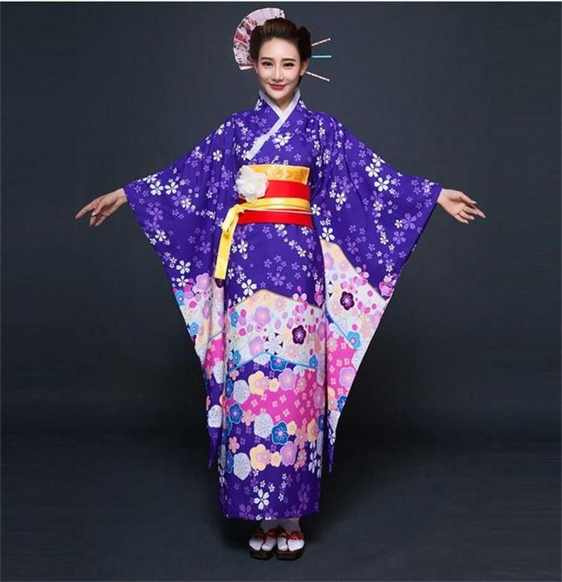 Top Quality Purple Japanese Style Women Kimono Traditional Yukata With Obi  Vintage Evening Dress Flower One Size 4eebb457f497