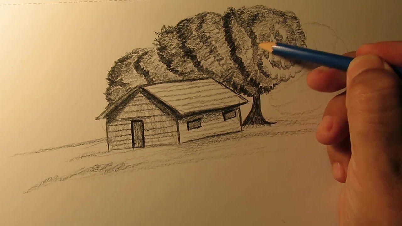 كيفية رسم منظر طبيعي بالرصاص من الخيال Art Drawings Art Painting Drawings