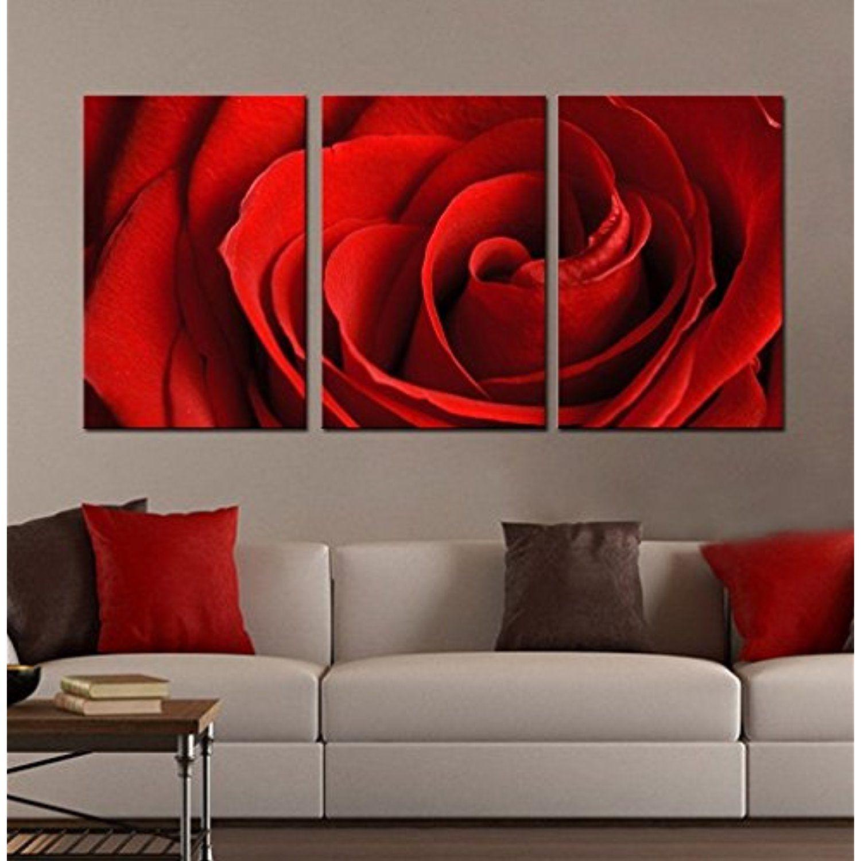 Aitesi Art Framed Flower Canvas Wall Art Set Prints \'Red Rose ...