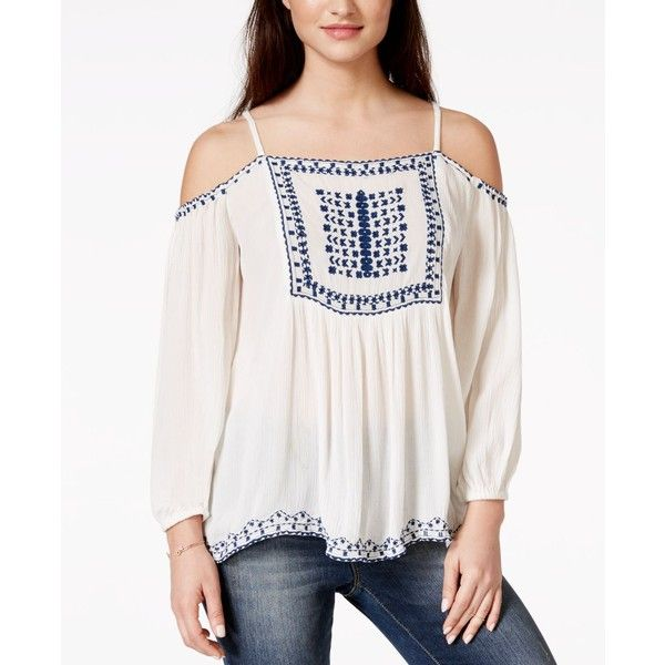 American Rag Embroidered Off-the-Shoulder Peasant Blouse, ($50) ❤ liked on Polyvore featuring tops, blouses, egret comb, boho peasant blouse, embroidered blouse, boho blouse, white embroidered blouse and off the shoulder tops