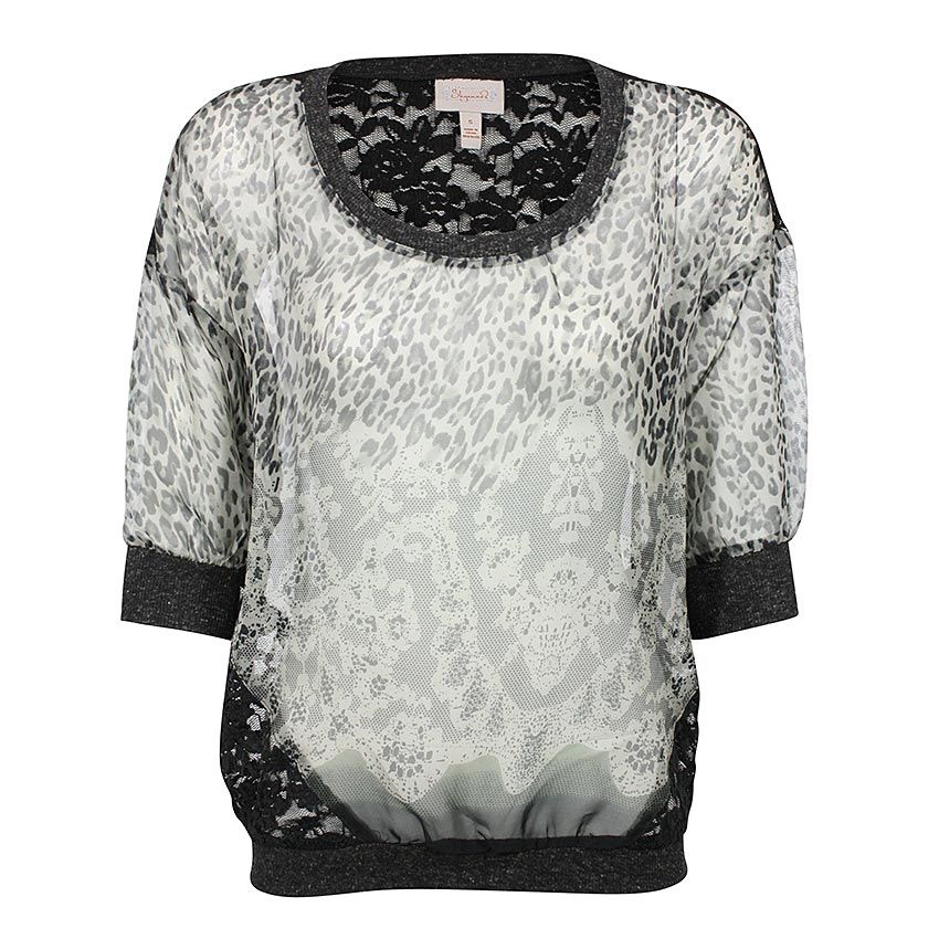 Shyanne® Women's Long Sleeve Sheer Leopard Blouse