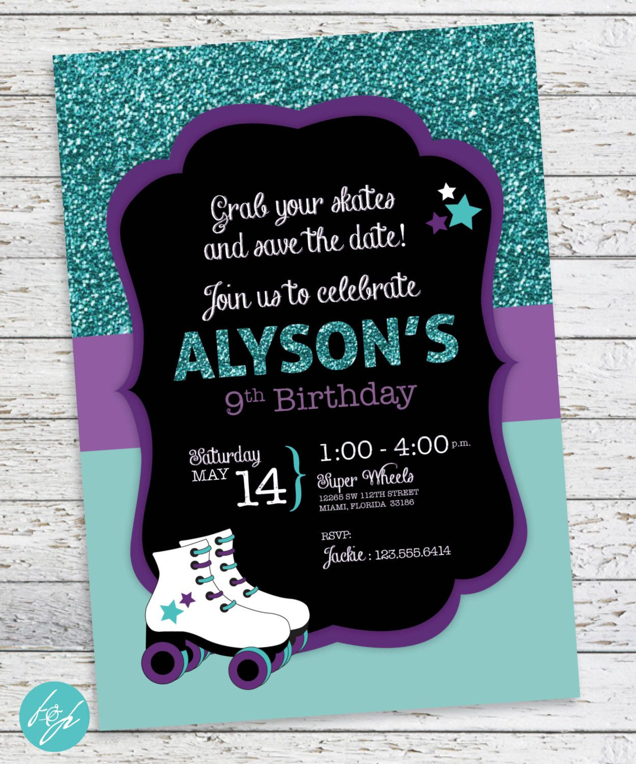 Rollerskate Party Invitation Roller Skate Birthday