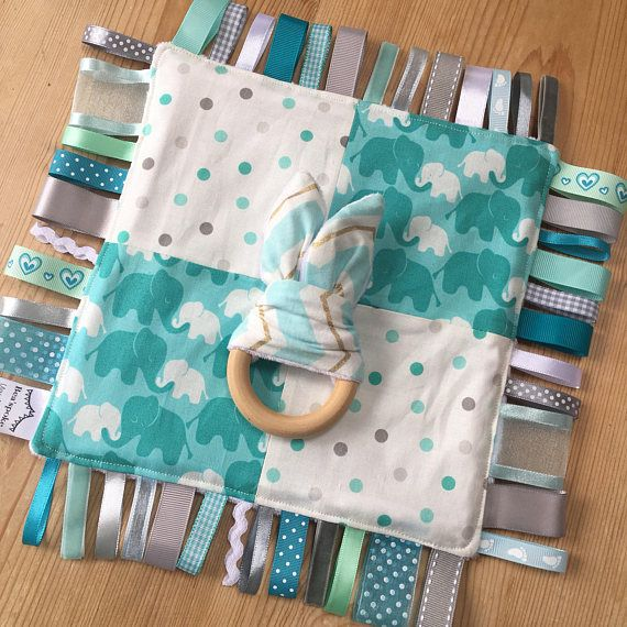 Baby Elephants Ribbon Taggie Taggy Blanket Learning Quilt Baby Blue Boy  Teething Ring Aqua Mint White Grey Dot Nursery Baby Shower Gift Made in UK a61dc5a82