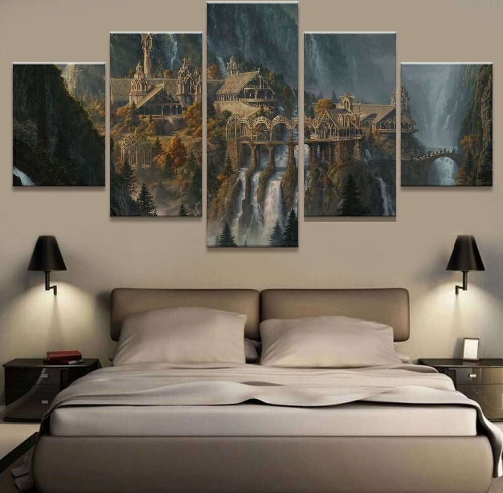 Hobbit Hole House Landscape Poster Art Print Black /& White Card or Canvas