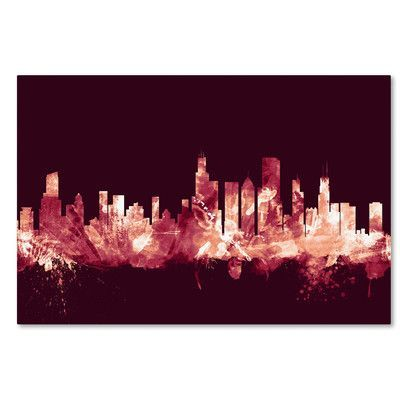 "Mercury Row Chicago IL Skyline Maroon Graphic Art on Wrapped Canvas Size: 30"" H x 47"" W x 2"" D"