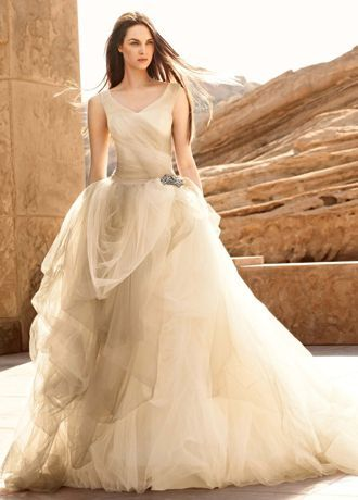 This ombre-printed wedding gown features a breathtaking tossed tulle ...