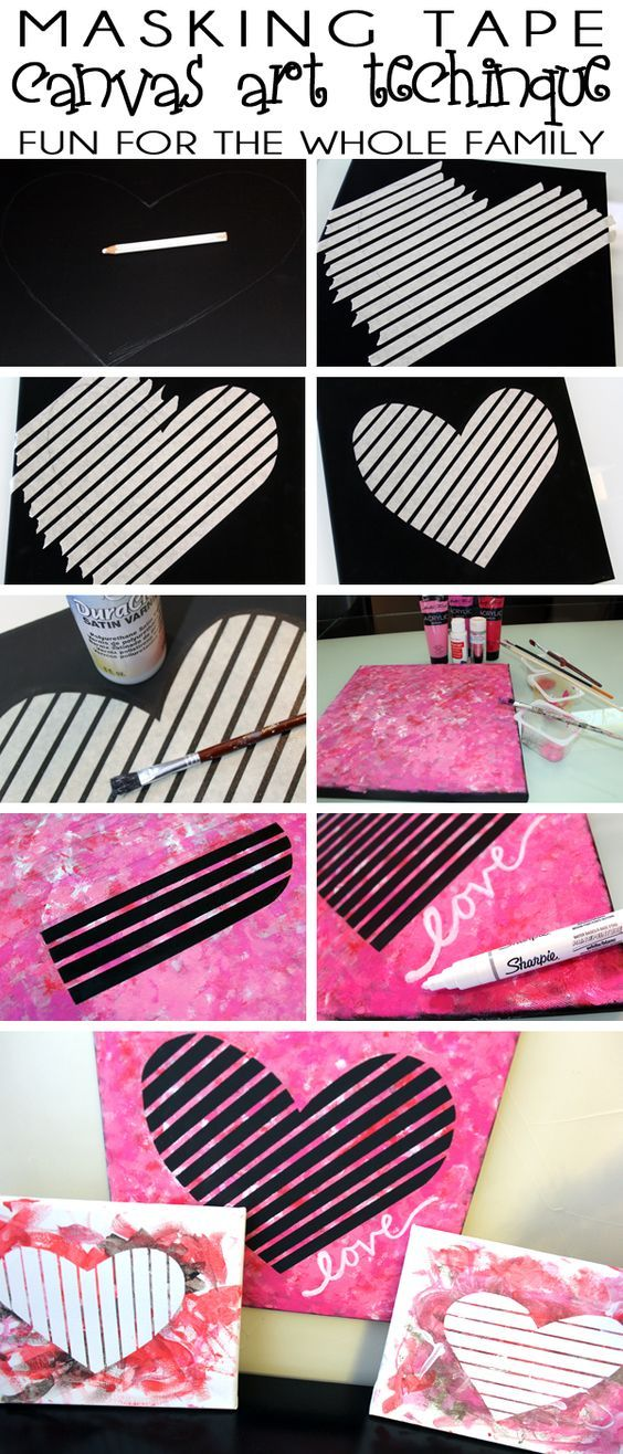 creating canvas art. An easy masking tape technique for creating canvas art that s fun the  whole family Easy Toddler Art Valentine Day Heart Masking and