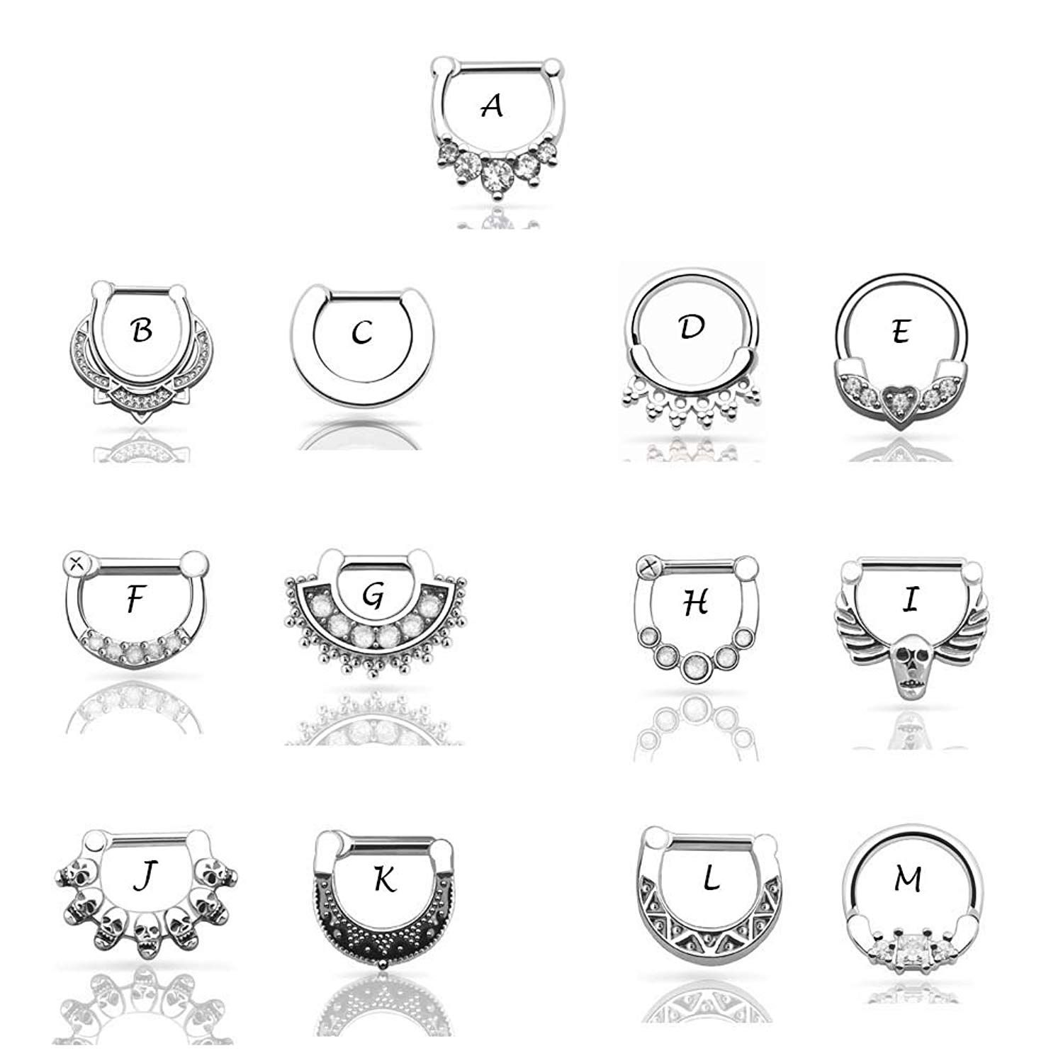 Piercing nose in islam  pcs Multistyles Stainless Steel Nose Cuff Ring Nose Septum Clicker