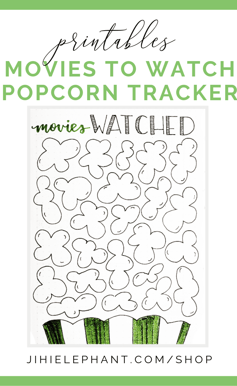 Green Movies to Watch Popcorn Collection Printable | ElizabethJournals