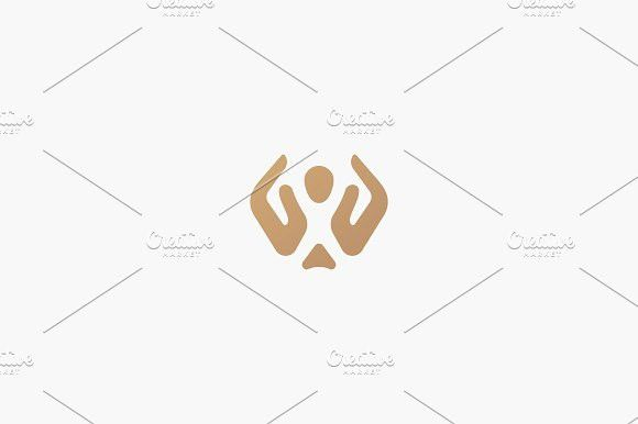 Abstract people care vector logo. Hand child care logotype