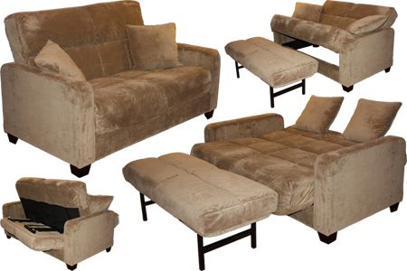 Sofa Sleepers   Cabo Mocha Microfiber Loveseat Convert A Couch