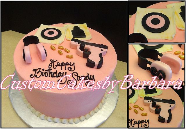 pink gun cake, @Leslie Quayle i found your Bday cake!!!