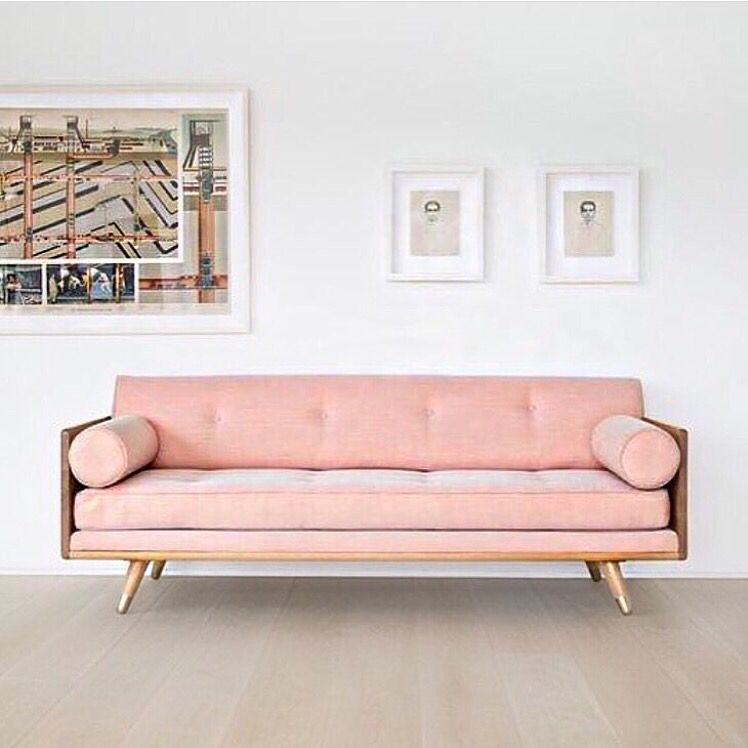 Bloomingville pink sofa and pouf and golden coffee table | Home ...