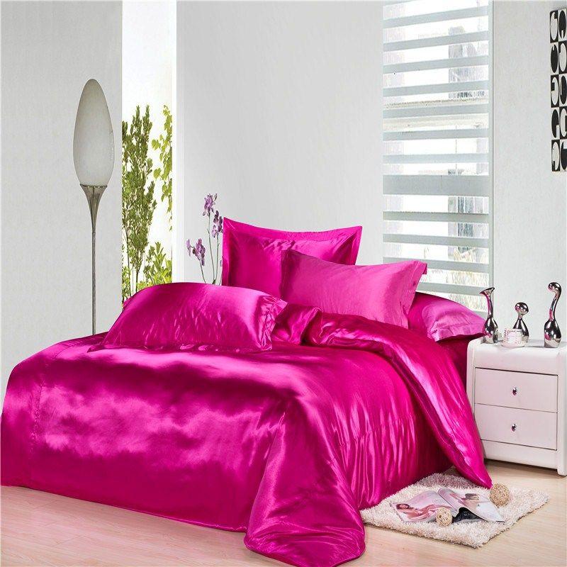 Hot Pink And Luxury Rose Red Silk Satin Bedding Duvet