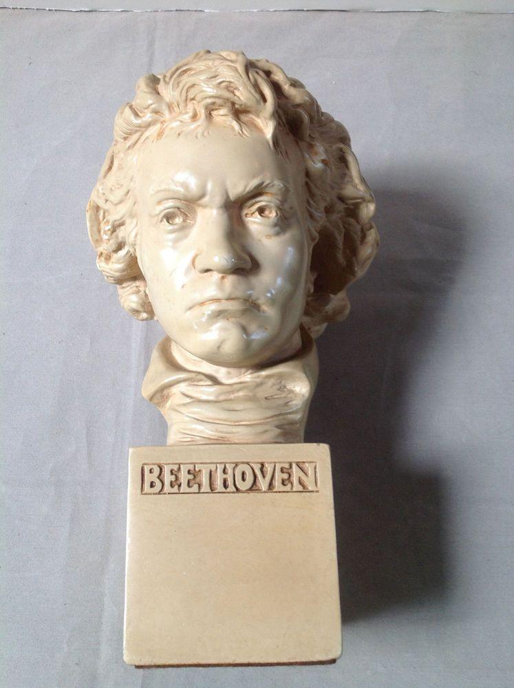 Vintage Beethoven bust by Alexander Backer statue figure art head