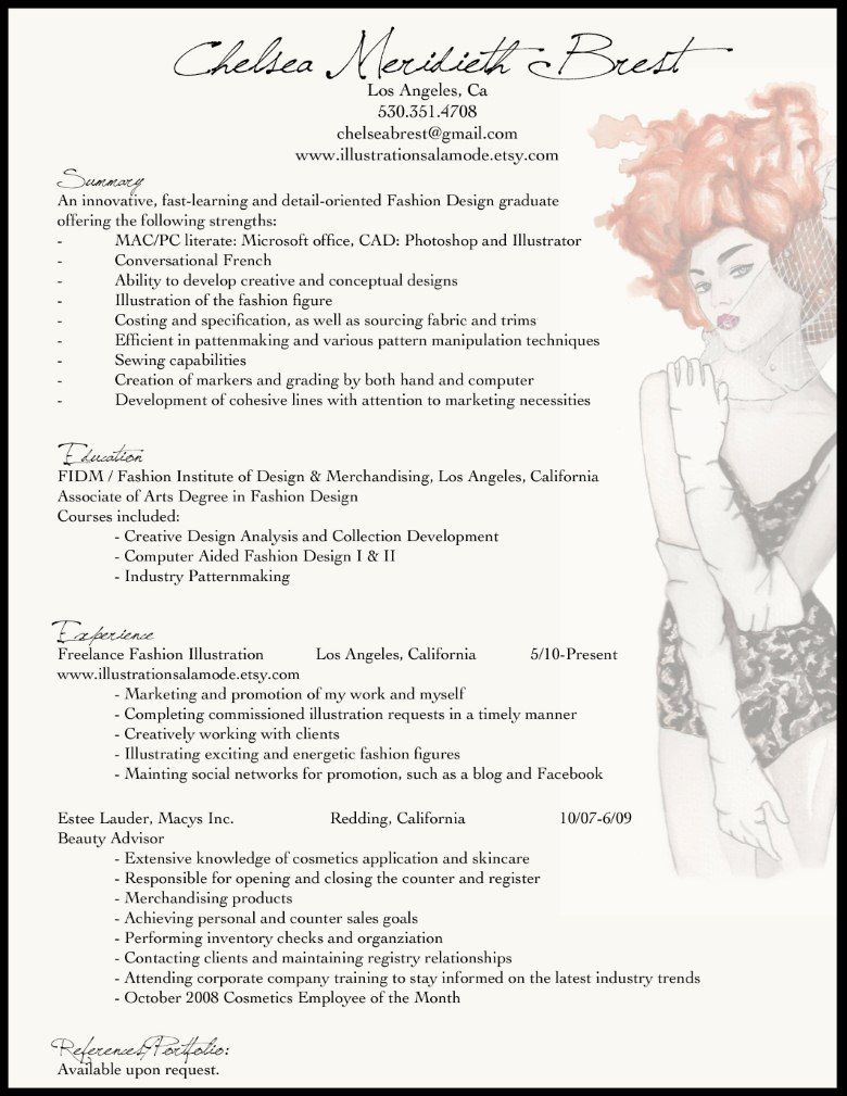 fashion resume example for the adhd me creative fashion resume example