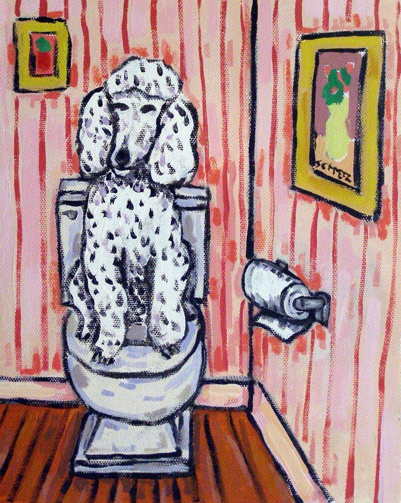 dachshund art bathroom print JSCHMETZ modern 13x19  reproduction