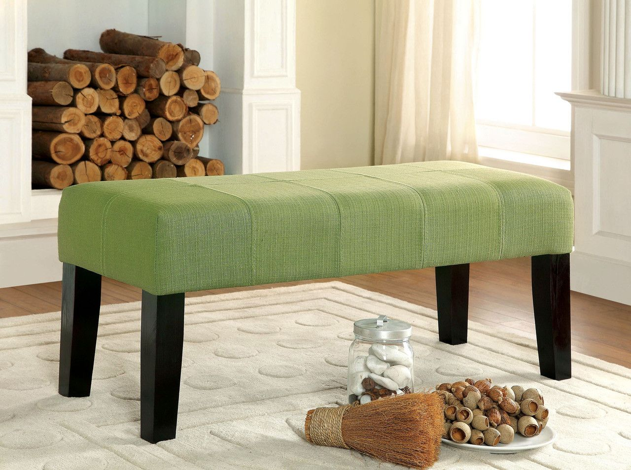 Furniture Of America Leatherette Bench Cm-Bn6006Gr Bury Collection