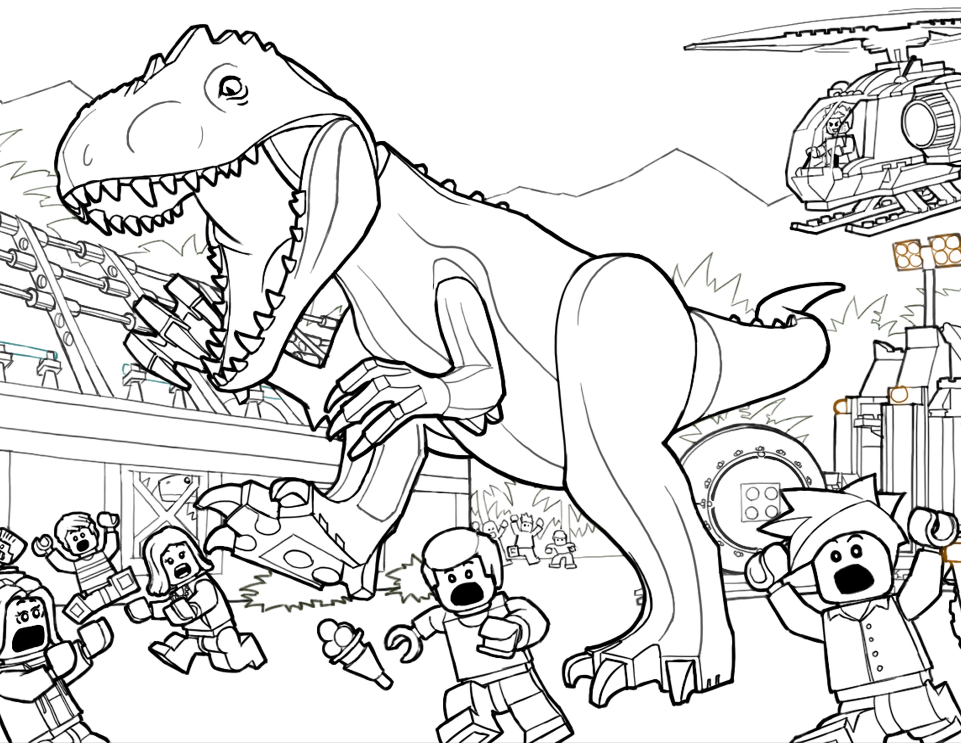 Ausmalbilder Lego Jurassic World   Dinosaur coloring pages ...