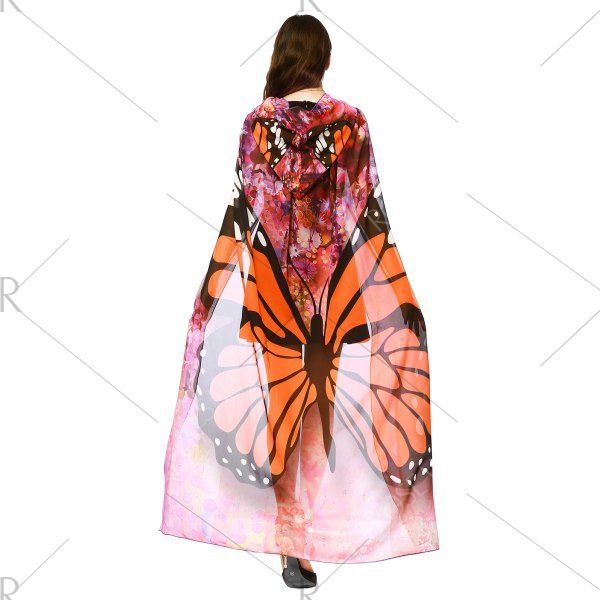 Chiffon Butterfly Design Festival Hooded Cape
