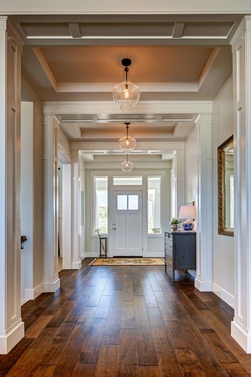 Extra Wide Entry Hallway Love How Spacious This Feels And The Contrast Of Light Dark Floors With Hallway Light Fixtures Modern Entryway Hallway Ceiling Lights