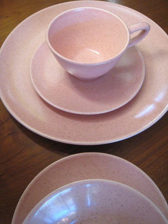 6 California Pottery Dinner Plates Monterey Mid Century