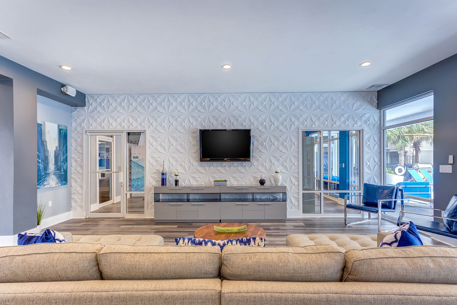 Our TV Lounge in the clubhouse is a perfect place for
