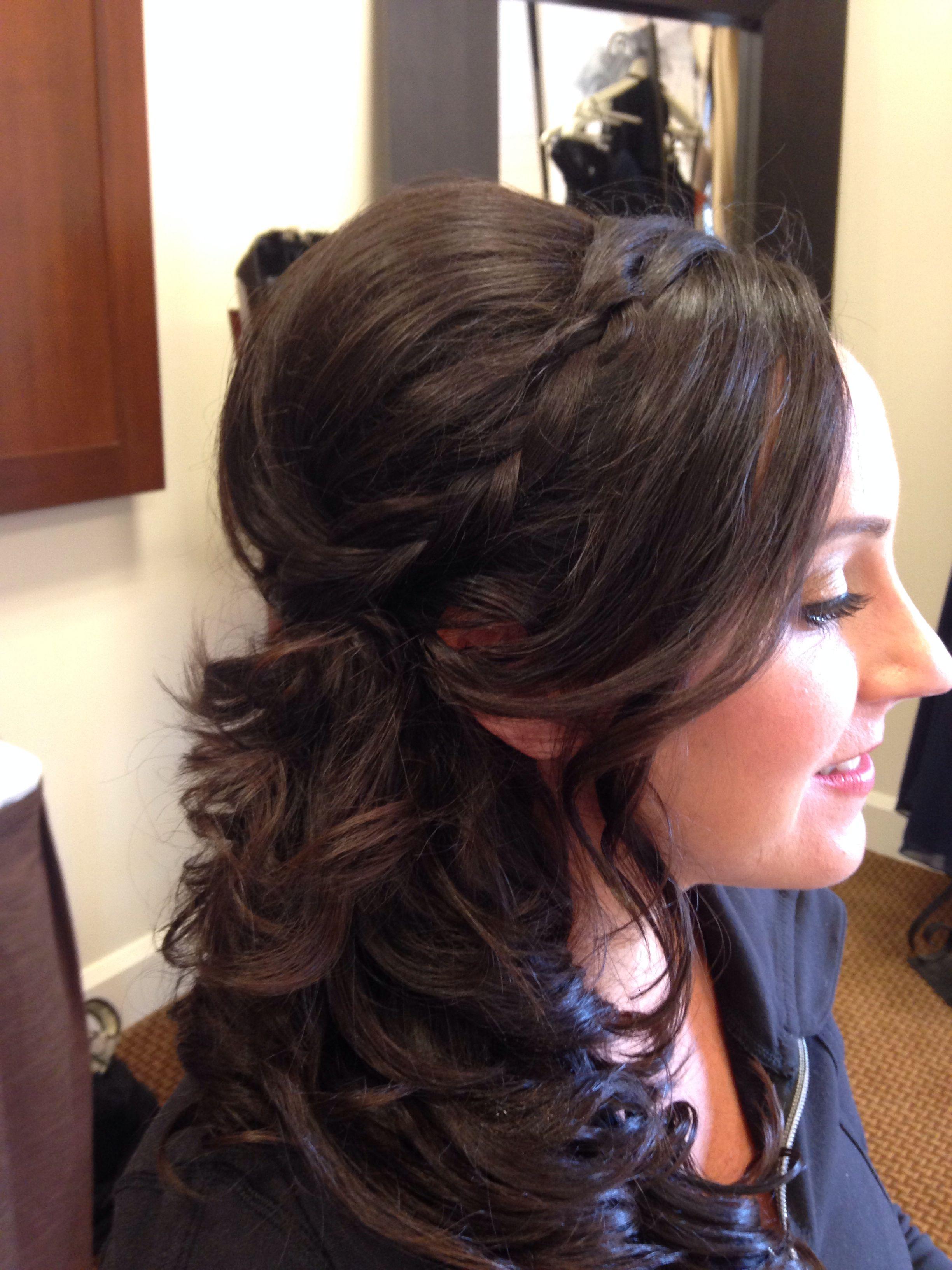 half up do side swoop bangs bridesmaid romantic curls | hair