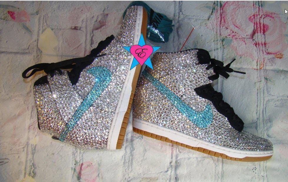 Custom Crystal Bling Nike Dunk Sky Hi Wedges Aqua Swoosh Nike Sky hi Dunks a8a215cc6