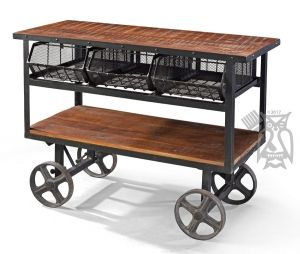 Solid Mango Metal Serving Accent Cart On Wheels Dining Buffet Dining Furniture Dining Room Furniture