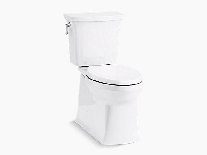 Kohler Corbelle Comfort Height Two Piece Elongated 1 28 Gpf Toilet With Skirted Trapway And Revolution 360 Swirl Flush Toilet Walk In Shower Designs Kohler