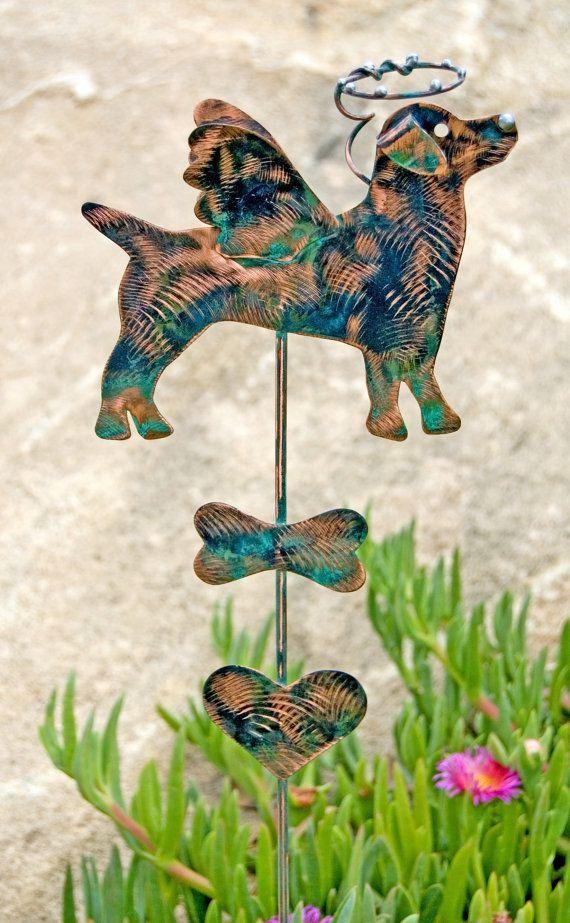 Jack Russell Terrier Dog Garden Stake Metal Garden Art Pet
