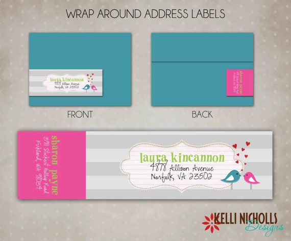 Love Bird Bridal Shower Wrap Around Return Address Label Template - Return Address Label Template