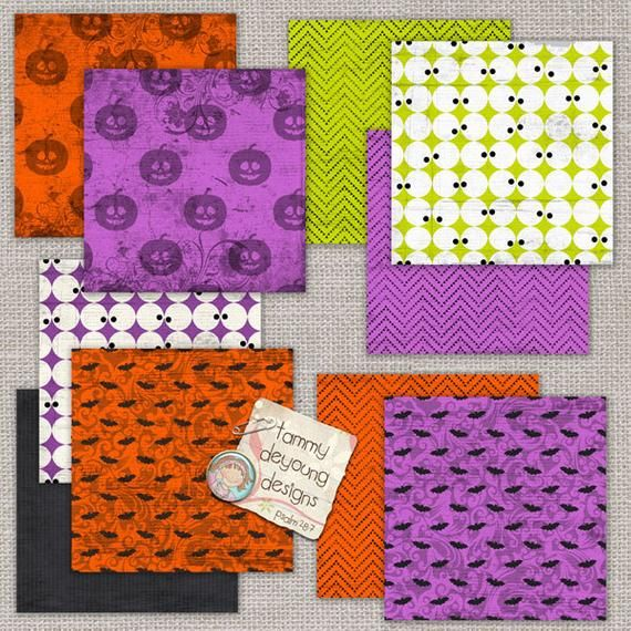 Halloween Digital Papers, bats and eyeballs, Boo You 2! bright, fun backgrounds for invitations, scr