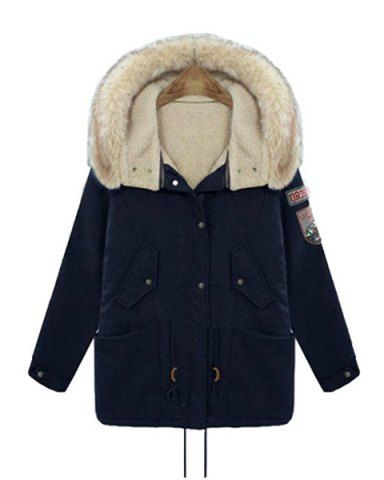 Casual Hooded Applique Long Sleeve Padded Coat For Women