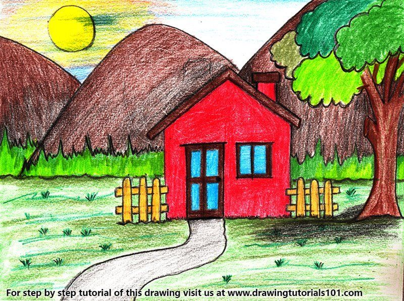 Learn How To Draw An Easy House Scenery Scenes Step By Step Drawing Tutorials Easy Scenery Drawing Nature Drawing For Kids Scenery Drawing For Kids