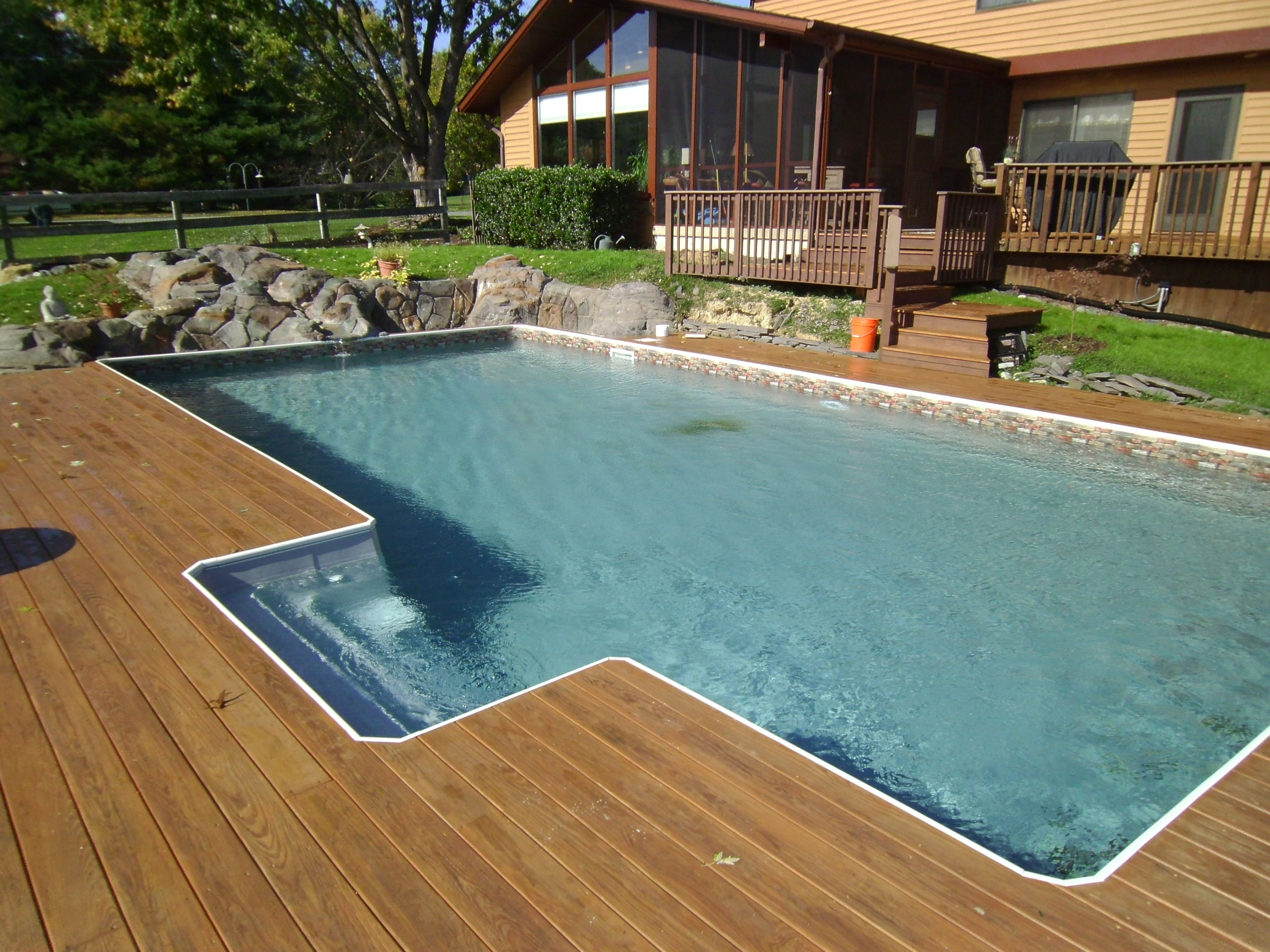 Built In Pool Ideas small round inground pool Rectangle Sharkline Extruder 10000 Inground Pool With Built In Step
